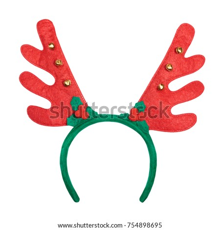 Christmas antlers of a deer isolated on white background. Pair of toy reindeer horns.