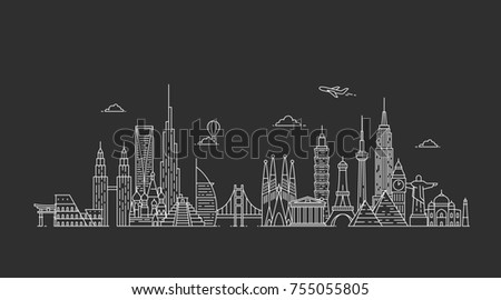Travel and tourism background. Famous buildings and monuments. #755055805