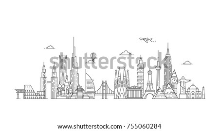 Travel and tourism background. Famous buildings and monuments. #755060284