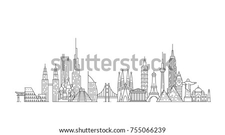 World skyline. Illustations in outline style #755066239