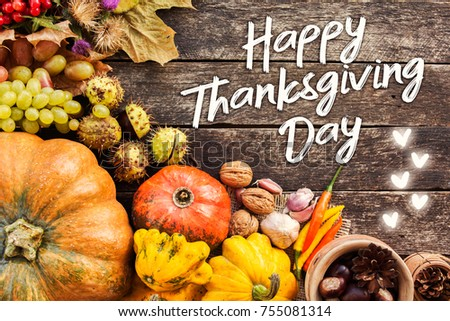 Happy Thanksgiving day concept - traditional holiday food with pumpkins on old wooden.  #755081314