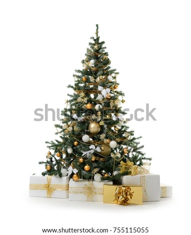 Decorated Christmas tree with golden patchwork ornament artificial gold balls and big gift presents for new year 2018 isolated on white background #755115055