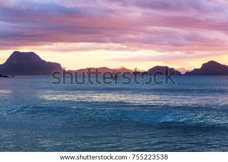 Amazing scenic view of sea bay and mountain islands, Palawan, Philippines #755223538