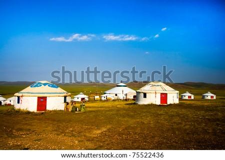Inner Mongolia yurt in the grass land. #75522436