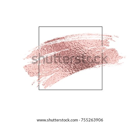 Rose gold foil dry brush stroke and border. Pink sparkle glossy scribble, grunge or smudge paint texture isolated on white background. Vector shiny metallic gradient brushstroke with frame.