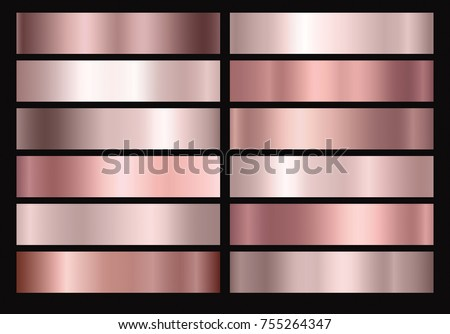 Gold rose, bronze foil texture set isolated on black background. Vector golden shine metallic gradient pattern. Decorative collection for gold pink border, frame, ribbon, label design  Royalty-Free Stock Photo #755264347