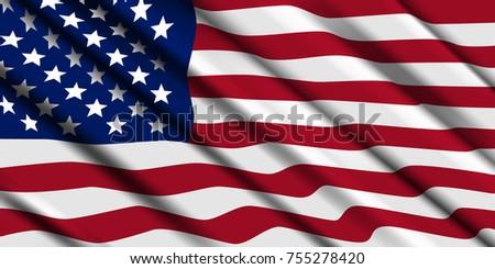 American flag ripple. Vector background. #755278420