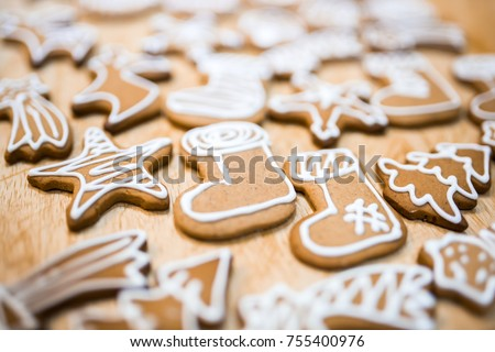 Decorated gingerbread for christmas eve #755400976