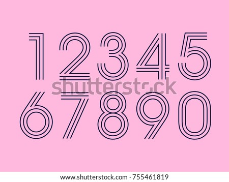 Set of ten numbers form zero to nine, number design elements Royalty-Free Stock Photo #755461819