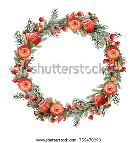 Watercolor Christmas wreath of branches boxwood and fir with red apples,  berries and cinnamon on a white background. Beautiful and bright  frame for your holiday, warm wishes and design