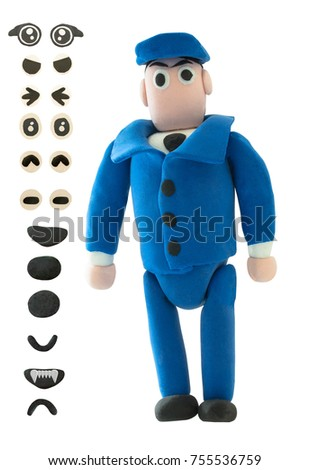 Plasticine policeman or officer with eye and mouth on white