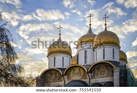 The Cathedral of the Dormition is the largest church in the Moscow Kremlin, Russia #755541550