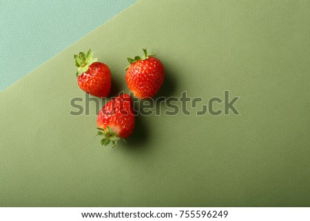 Three strawberries, food above #755596249