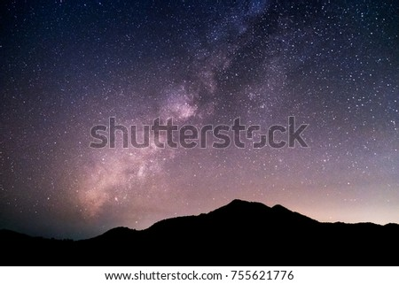 Mountains, the Milky Way, and stars in the beautiful night sky. #755621776