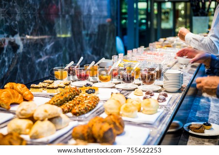 Breakfast Buffet Concept, Breakfast Time in Luxury Hotel, Brunch with Family in Restaurant #755622253