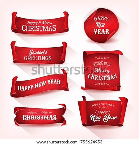 Christmas Parchment Scroll Collection/ Illustration of a set of christmas and happy new year banner on red parchment scroll, for winter and december holidays #755624953