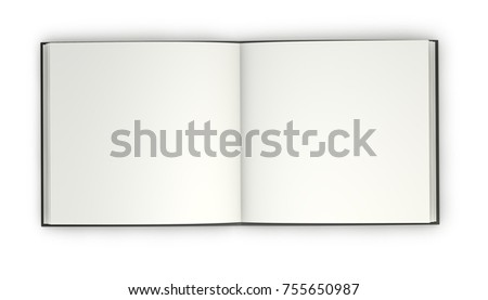 Open hardcover book with blank square pages 3D illustration.