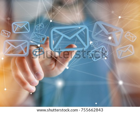 View of a Blue Email symbol displayed on a futuristic interface - Message and internet concept #755662843