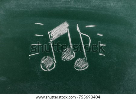 Musical notes on chalkboard, blackboard texture