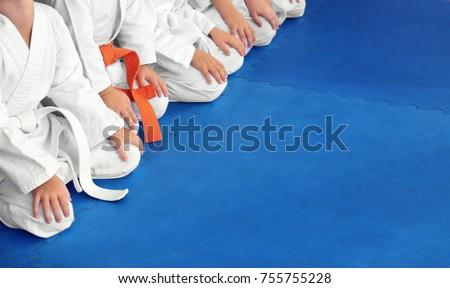 Little children wearing karategi in dojo Royalty-Free Stock Photo #755755228