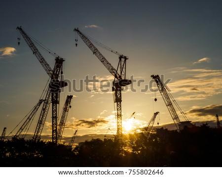 Crane silhouette in Japan #755802646