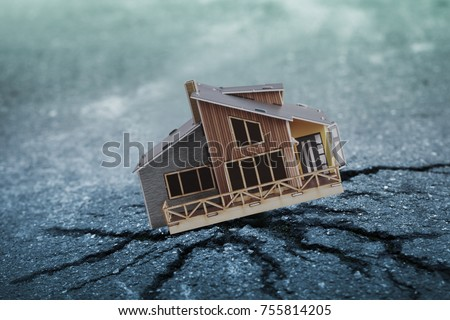 Earthquake crisis house risk insurance concept Royalty-Free Stock Photo #755814205