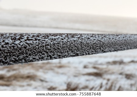 beautiful frost on a cold winters morning. Transforms the fence in to abstract art work. #755887648