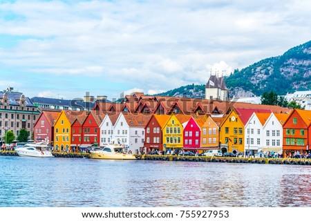 BERGEN, NORWAY, AUGUST 22, 2016: View of a historical wooden district Bryggen in the norwegian city Bergen. #755927953