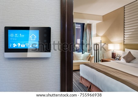 smart screen with smart home and modern bedroom #755966938