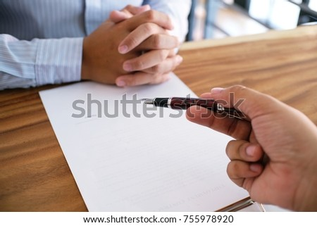 Business man signing contract making a deal with partnership agreement concept #755978920