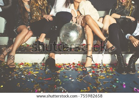 New year party celebration with friends in the club #755982658