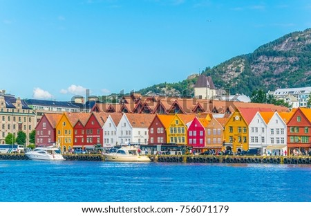 View of a historical wooden district Bryggen in the norwegian city Bergen.  #756071179