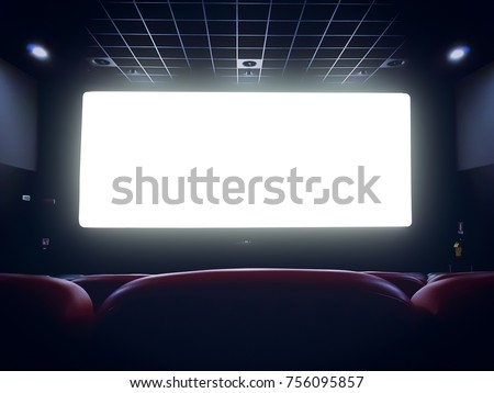 cinema interior of movie theatre with empty red seats with copyspace on the screen and glow on edge, concept of recreation and entertainment #756095857