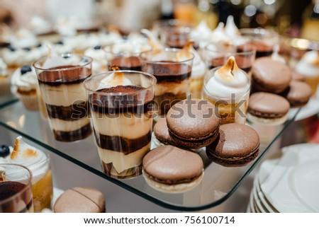 Delicious wedding reception candy bar dessert table #756100714