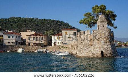 Photo from iconic historic fortified port in village of Nafpaktos with traditional character, Greece