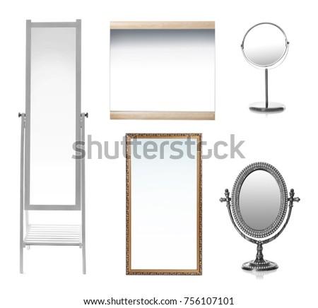 Set of mirrors on white background #756107101