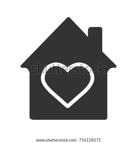 Family house glyph icon. Warm, comfort and safe residence. Silhouette symbol. House with heart inside. Negative space. Raster isolated illustration