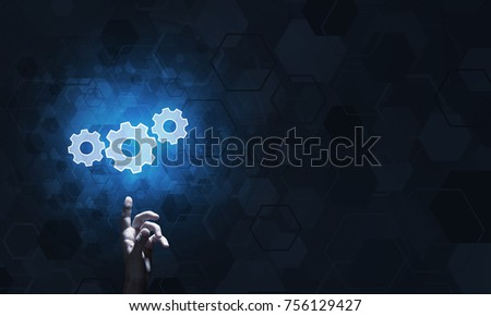 Close of human hand touching with finger setting glowing icon #756129427