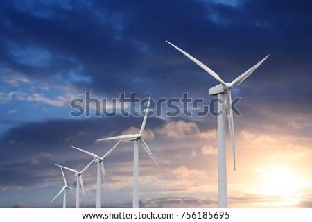 wind turbine on sunset background #756185695