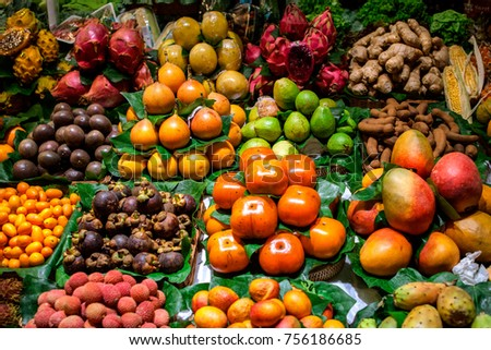 A lot amount of fruits and vegetables in market place. #756186685