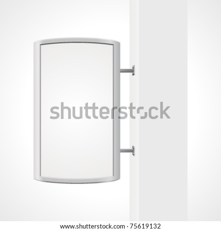 Vector city light billboard on column with empty space for your message or illustration. Vector illustration Eps 10. #75619132