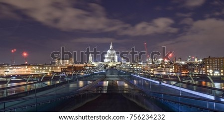 Night in London and St Paul Cathedral