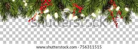 Christmas border with fir branches, pine cones, berries and lights Royalty-Free Stock Photo #756311515