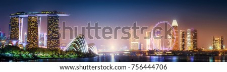Vibrant panorama background of Singapore skyline at the business bay Royalty-Free Stock Photo #756444706
