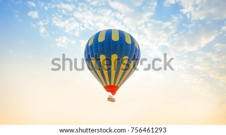 Flying balloon in sky with clouds. #756461293