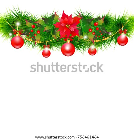 Christmas garland with poinsettia and red  balls ,isolated on a white #756461464