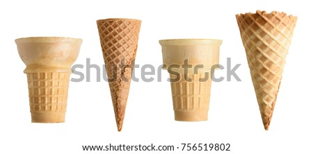 Collection of empty ice cream cone isolated on white background Royalty-Free Stock Photo #756519802