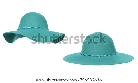 Beautiful set, luxurious woolen hat two kinds, turquoise with chain decor, autumnal, winter, isolated on white background, clipping #756532636
