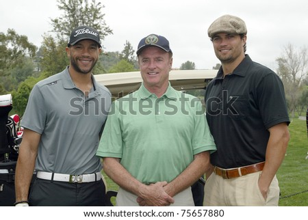 "TARZANA, CA - APRIL 18: Stephen Bishop, Kevin Dobson and Scott Elrod (L-R) arrive at the 8th annual ""Hack n' Smack, Kerry Daveline Memorial, Celebrity Golf Classic"" on April 18, 2011 in Tarzana, CA #75657880"