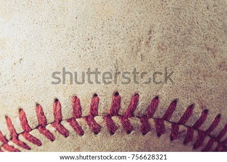 old Baseball on wood background with filter effect retro vintage style Royalty-Free Stock Photo #756628321